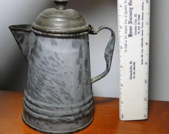 "Scarce 6 1/2"" Grey Graniteware Coffee Pot - Scarce Small Grey Enamelware Coffee Pot - Hard To Find!"