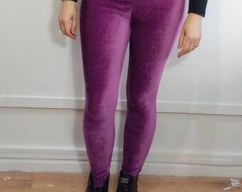 Recycled Pink Cord Stretch Velvet Leggings