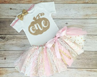 Pink and Gold Fall Birthday Outfit with Headband, Pumpkin First Birthday, Pumpkin Bodysuit, Fall Theme Tutu