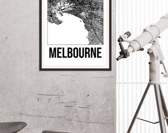 Melbourne City Map Print - Black and White Minimalist City Map - Melbourne Map - Melbourne Art Print - Many Sizes/Colours Available