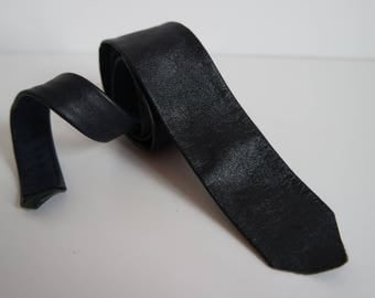 Vintage Dark Blue Leather Skinny Tie,  Leather Necktie, 1980s
