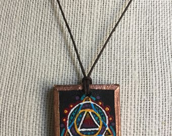 Geometric art necklace, Handpainted design pendant, Artistic painted jewelry, Beautiful pendant necklace, Unique birthday gift for her