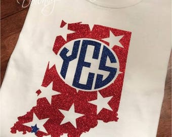 INDIANA School Spirit wear Monogram T-Shirt Customized/Adult AND Youth sizes/Unisex T-Shirt/Multiple Colors/Pre-shrunk Cotton
