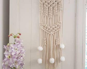 Small cotton cord wall hanging macrame with pom pom tassels tapestry office nursery decor gift Christmas wall hanging