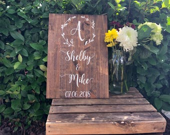 Wedding Welcome Sign with Laurel Wreath Custom used decor stuff Sign Entrance Name and Date Rustic Decor Wooden Country gift for couple
