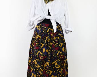 FREE SHIPPING Gorgeous vintage 1980 handmade cotton skirt, high waist colorful skirt