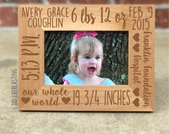 Baby picture frame etsy personalized baby stats picture frame baby picture frame gift for new baby baby negle Choice Image