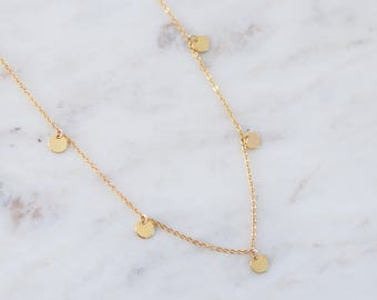 Dainty Gold Coin Necklace - Layering Necklace - Gift For Her - Bohemian Jewelry - Bridesmaid Gift - Minimalist Jewelry - Charm Necklace