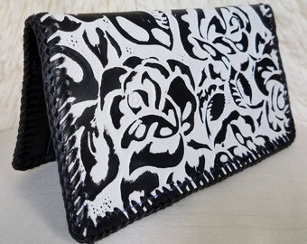 REDUCED! Black & White Beauty! Textured Embossed Leather Wallet, 5 Card/4 Pocket Leather Interior, HandLaced w/Leather Lace