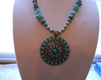 Turquoise Stainless Steel Desinger Necklace #745