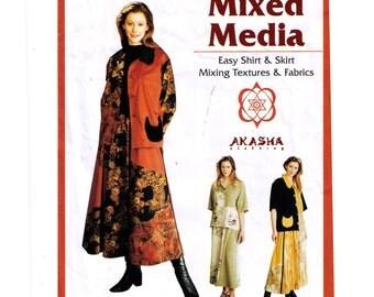 Uncut Akasha Clothing sewing pattern Size S-L Mixed Media short sleeve jacket, shirt pattern, ankle length skirt