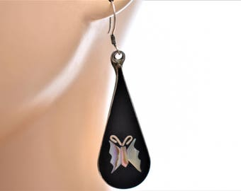 """Alpaca Mexico Teardrop Cloisonné Enamel Butterfly Drop Dangle Boho Statement Earrings Abalone Delicate Jewelry 2.5"""""""