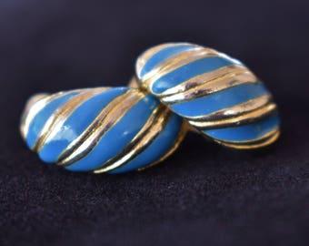 """Vintage Blue Striped Enamel Hoop Earrings Clip On Minimalist Boho Retro Costume Jewelry .75"""""""