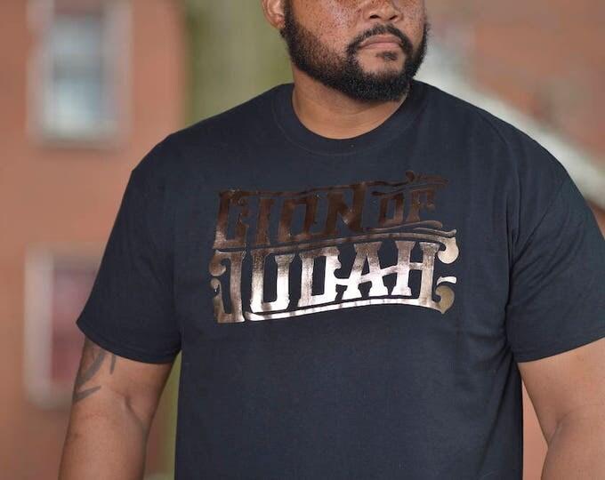 LION of JUDAH Black T-Shirt Rose Gold Distressed Foil