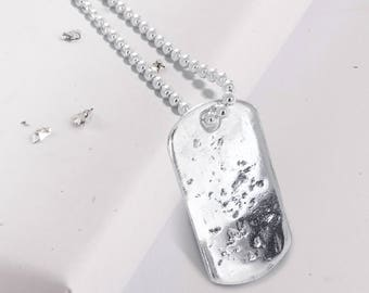 Sterling silver memorial ashes imprinted dog tag