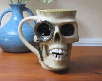 Mug, Pottery Mug, Stoneware Pottery Skull Mug, Coffee Mug, Wheel Thrown Mug, Dia De Los Muertos, Steampunk, Skull Mug