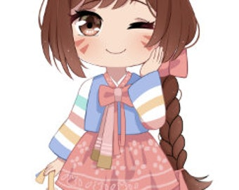Dva Overwatch- Chinese New year Skin Anime STICKER Kawaii