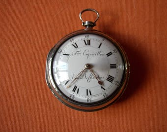 "1750 Oignon Verge Fusee ""Fere Exquivillion Dechoudens"" silver pocket watch mint working"