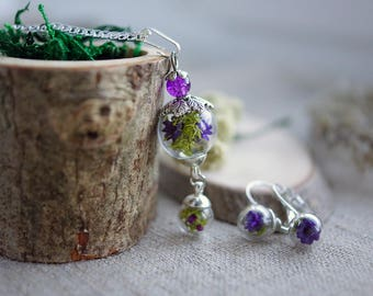 Terrarium jewellery - floral pendant and earrings, real flower necklace, floral jewelry, romantic gift for her, romantic jewelry flowers