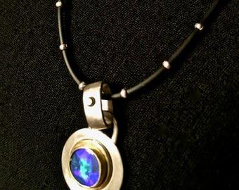 Sale!  Blue Opal Pendant, blue opal necklace,  22 karat gold bezel, sterling silver pendant