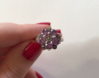 Vintage Purple Cubic Zirconia and Marcasite Flower Cluster 925 Sterling Silver Ring