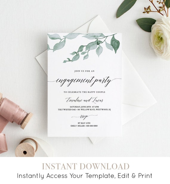 Engagement Party Invitation Printable, Greenery Engaged Announcement, INSTANT DOWNLOAD, 100% Editable Template, Digital, Templett #019-104EL