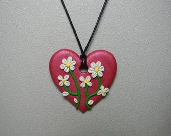 """Necklace """"Floral heart"""" raspberry"""