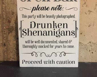 Wedding Open Bar Sign - Wood, rustic, vintage, weathered