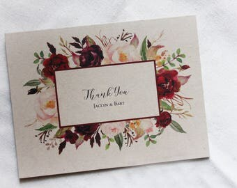 Rustic Wedding Thank You Cards with flowers, Floral note card set, blank note cards, personalized stationary, personalized card set of 5