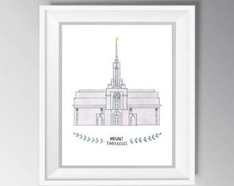 Mount Timpanogos LDS Temple Watercolor INSTANT DOWNLOAD