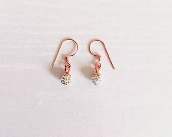 Sparkling 18k Rose Gold Dangle Earrings