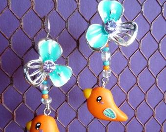 Earrings sleepers silver-plated bird kawaii orange polymer clay fimo on Silver Flower enamel and rhinestones