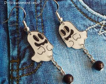Earrings in sterling silver 925 kawaii ghost handpainted plastic crazy crazy halloween