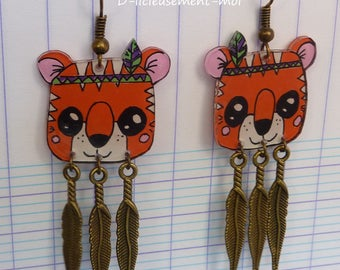 Bronze tiger kawaii orange crazy crazy plastic feather charm and hand-painted Indian earrings