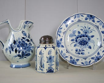 Set of 3 Old Delft / Gouda Dutch Blue