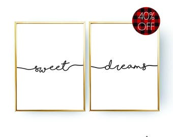 Sweet Dreams Print Typography Poster INSTANT DOWNLOAD Bedroom Decor Sweet Dreams Poster Bedroom Print Printable Wall Art Nursery Decor Gift