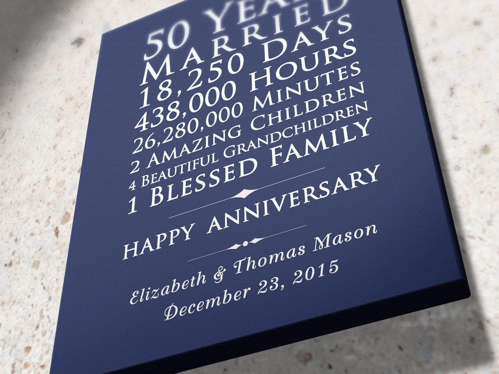 Personalised 50th Wedding Anniversary Gifts: Personalized 50th Wedding Anniversary Gift 50 Years Together