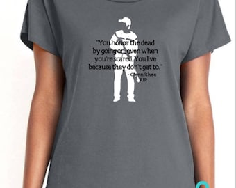 Glenn Rhee Quote - The Walking Dead Women's tees - You Honor The Dead By Going On Even When You're Scared