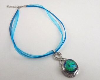 Fused Dichroic Glass Snap Necklace - Elegant Double Loop with Rhinestones - Blue and Green Shimmery Glass