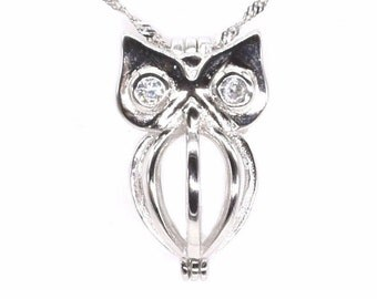 Owl cage pendant, 925 sterling silver cage, freshwater pearl pendant, genuine pearl cage necklace, wish pearl charm jewelry, F3040-P