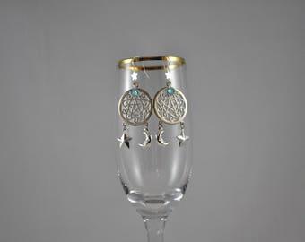 Star earrings, Moon earrings, Celestial earrings, Sterling Silver earrings, Dangle earrings,  Sterling Silver jewelry