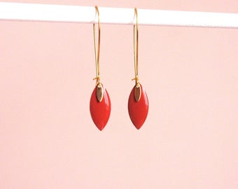 Brown Tan and gold style enameled sequin shuttle earrings minimalist