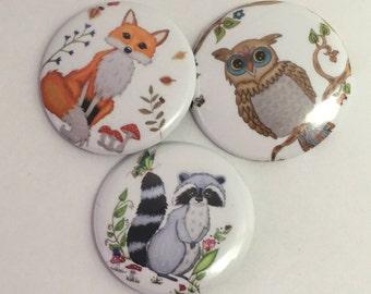 Pin back Buttons, pin back, owl pin, pin Buttons, Owl buttons, button badge, pin badge, animal badge, animal pins, pin set, button pins