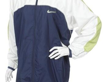 Vintage 90s Nike Women's Windbreaker jacket Green/Blue /White Size L 12-14