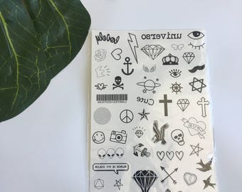 Single sheet BLACK/WHITE Temporary Tattoo