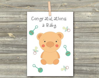Baby Card Greeting, DIGITAL INSTANT CARD, Printable Download Greeting Card, Cards For Kids, Baby Bear Print, Baby Born Card