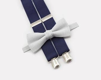 Light Gray Bow Tie & Navy Suspenders  Mens Bow Ties Toddler Suspenders Bowtie