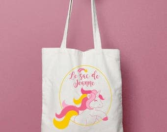 Tote bag personalized Unicorn child cotton bag, personalized bag, kids gift