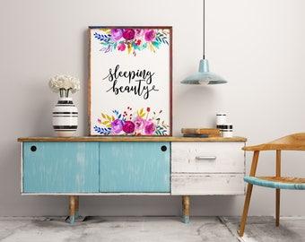 Nursery print, Sleeping beauty, Nursery wall art, girl printable, Baby girl nursery decor, Digital print, Printable art, Instant download
