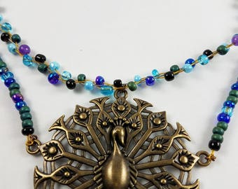 Vintage Inspired Deco Style Peacock Necklace with beadwork
